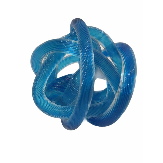 Beautiful Italian Murano glass sculpture. This abstract piece features a blue glass body of hand blown, textured, twisted...