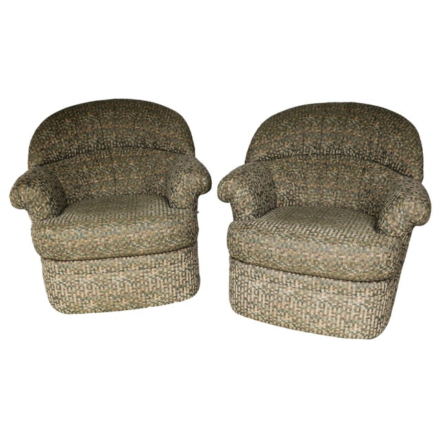 Pair Mid Century Modern Swivel Lounge Chairs - Image 2 of 9