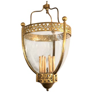 19th Century Bronze and Glass Bell Jar Large Chandelier For Sale