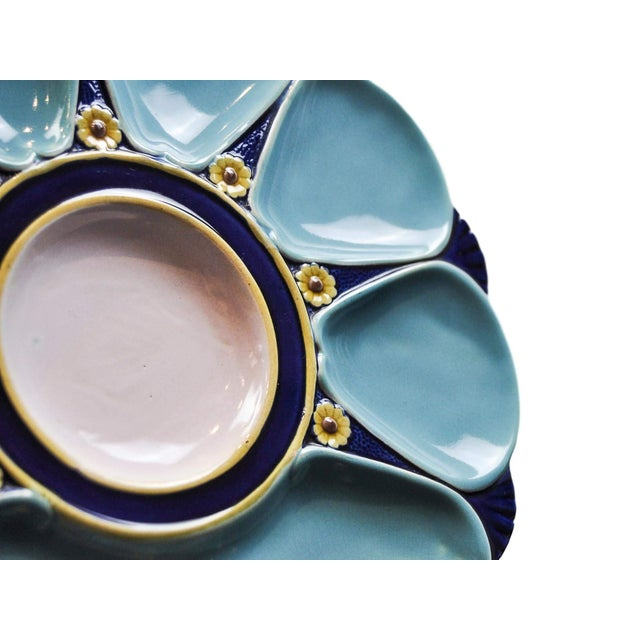 Sky Blue Minton Majolica Oyster Plate For Sale - Image 8 of 11