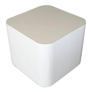 Custom-Made White Laminate Cubic End Table or Pedestal, Small For Sale