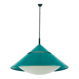 1970s Green and Opaline Glass Pendant Lamp by Peill & Putzler, Germany For Sale