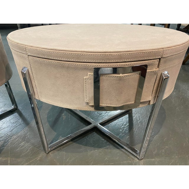 Transitional Pair of Custom Made Suede End Tables With Stainless Steel Frame For Sale - Image 3 of 10