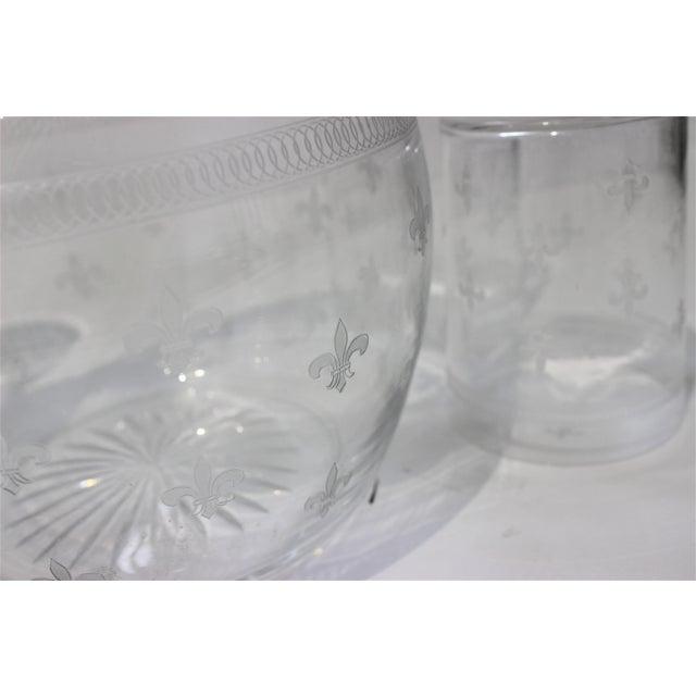 Vintage Fleur De Lis Glass Pitcher and 4 Tumblers Iced Tea Lemonade - a Set For Sale - Image 12 of 13