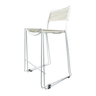 """Pair of White """"Spaghetti"""" Bar Stools For Sale"""