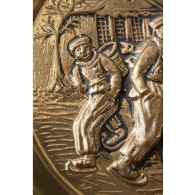 English Traditional English Hammered Brass Plate Winter Scene With Figures For Sale - Image 3 of 5