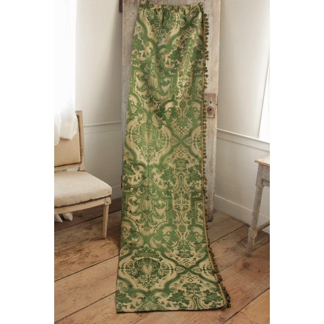 Antique French Green Silk Brocatelle Bed Curtain Hanging W/ Trim Brocade For Sale - Image 9 of 9