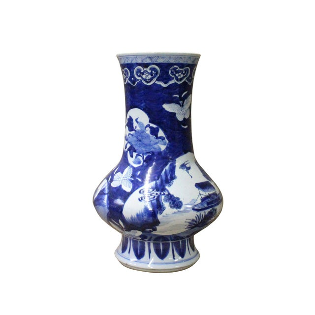 Ceramic Chinese Blue White Porcelain Scenery Flower Graphic Slim Body Vase For Sale - Image 7 of 7