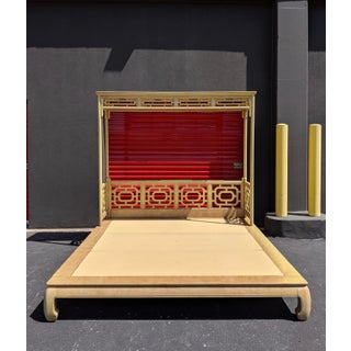Chippendale Fretwork Ming Platform Lacquered King Size Canopy Bed Preview