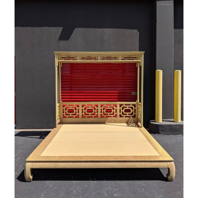White Furniture Co. king size platform bed with partial canopy, working lighting, Ming legs, Chinoiserie fretwork and faux...
