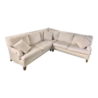 White Lee Industries Custom Slip-Covered Couch For Sale