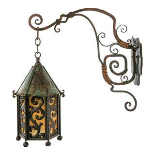 Early 20th Century Large Decorative Iron & Brass Exterior Sconce With Extended Mounting Bracket For Sale