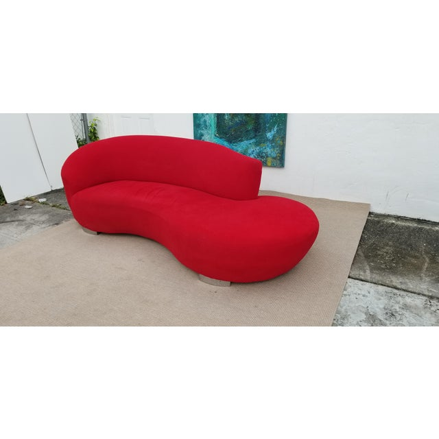 Vladimir Kagan Red Velvet Serpentine Sofa . For Sale In Miami - Image 6 of 13