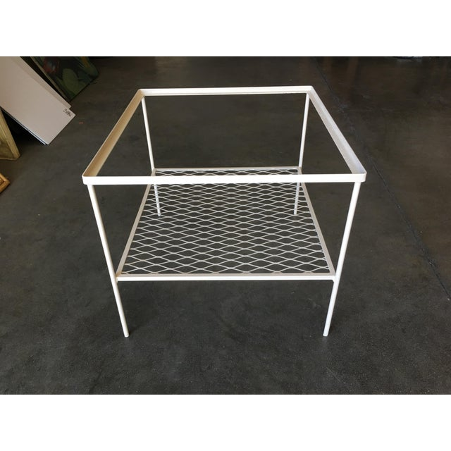 Contemporary Iron and Mesh Low with Glass Top Outdoor/Patio Cube Coffee Table by Woodard For Sale - Image 3 of 6