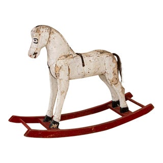 Early 20th Century Vintage Original White Painted Rocking Horse From Sweden For Sale