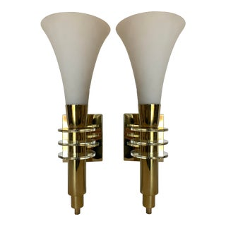 Brass and Lucite Wall Sconces, Fredrick Cooper - a Pair For Sale