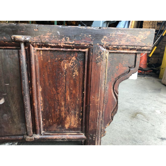 1980s Vintage Rustic Chinese Low Media Cabinet For Sale - Image 5 of 10