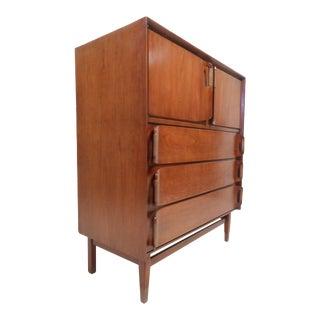 Vintage Modern Walnut Highboy Dresser For Sale