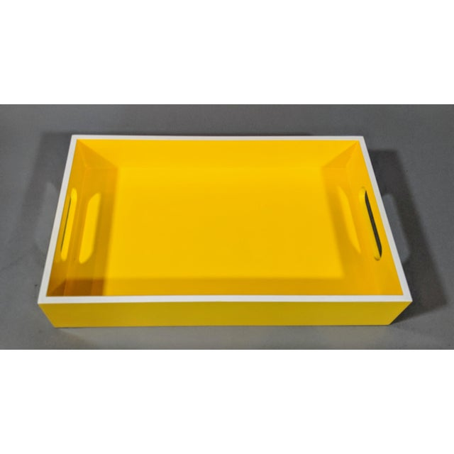 Yellow Yellow and White Lacquered Tray For Sale - Image 8 of 10