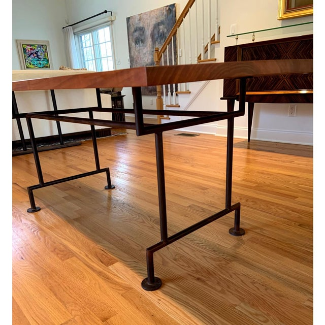 Industrial Industrial Style Custom Dining Table With Heavy Iron Base For Sale - Image 3 of 7