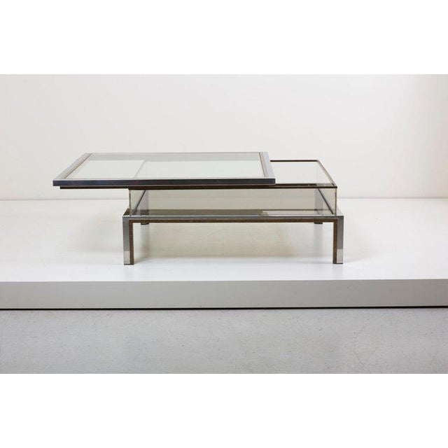 Maison Jansen Maison Jansen Sliding Top Coffee Table in Brass and Chrome For Sale - Image 4 of 9