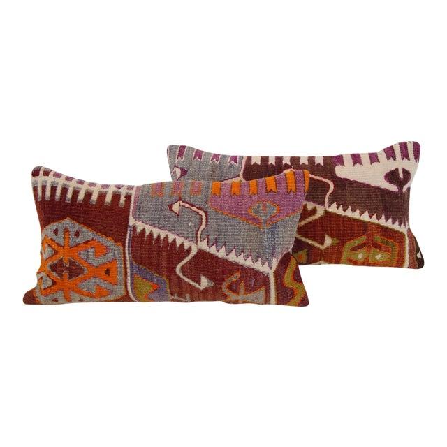 Turkish Kilim Cushions - a Pair - Image 1 of 4