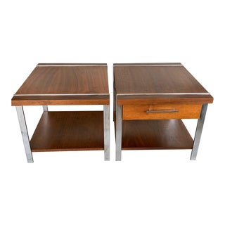 1960s Mid-Century Modern Lane Altavista Architectural Tables Chrome Rosewood Walnut Side Tables - a Pair For Sale