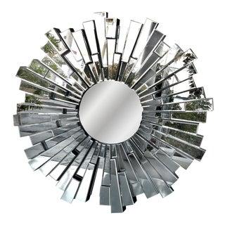 Modernist Sculptural Beveled Sunburst Wall Mirror