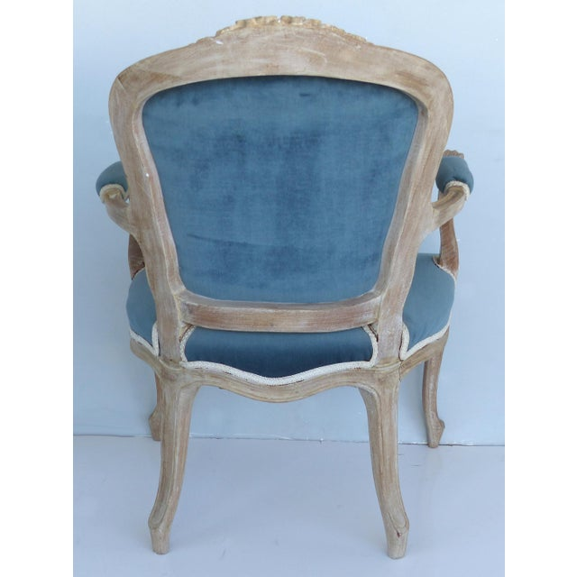Louis XV French Limed Louis XV Style Fauteuil Chairs With Velvet Mohair Seats With Trim For Sale - Image 3 of 13