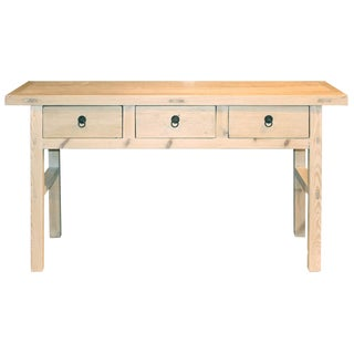 1920s Asian Antique 3-Drawer Console Table For Sale