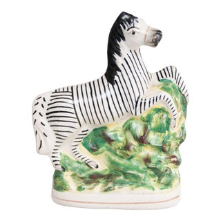 Antique English Staffordshire Zebra Figurine For Sale