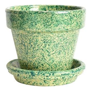 Italian Green & Yellow Spongeware Flower Pot For Sale