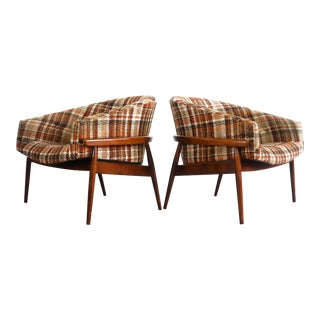 Early Milo Baughman Barrel Chairs in Original Plaid Upholstery For Sale