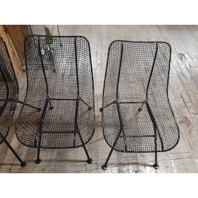 Metal 1960s Mid-Century Modern Outdoor Slate Dining Table With Four Sculptura Chairs by Russel Woodard - 5 Pieces For Sale - Image 7 of 9