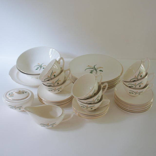 """Knowles """"Forsythia"""" vintage dinnerware set from the 1960s. Set consists of: 8 dinner plates (10 1/8in diam x 1/2in H) 9..."""