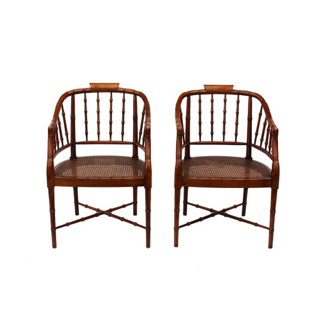 Caning Hekman Faux Bamboo Chippendale Style Armchairs - a Pair For Sale - Image 7 of 10
