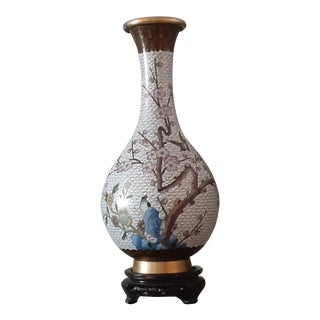 19th C. Cloissone Cherry Blossom and Blue on White Ground Vase For Sale