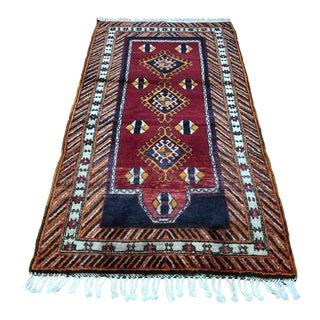 1970s Vintage Turkish Tribal Rug - 3′5″ × 6′5″ For Sale