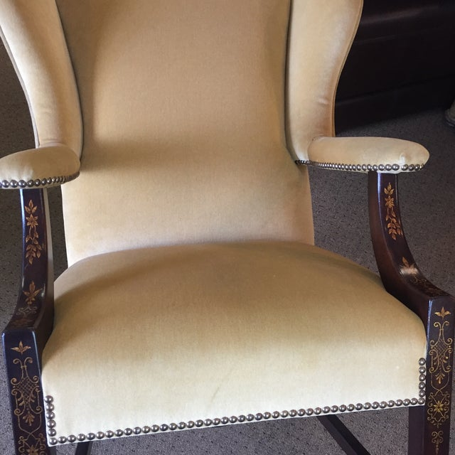 Comfort Home Tan Wingback With Nailhead Chair - Image 7 of 8