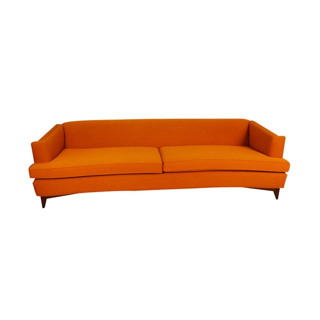 This fantastic mid-century extra long (7.83 ft.) curved sofa features gently sloping curves and large dual removable...