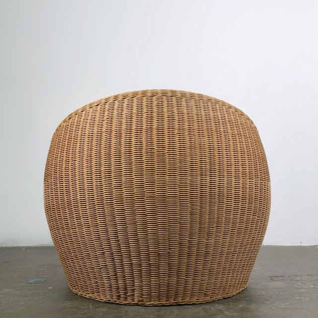 Rattan Ball Chair attributed to Isamu Kenmochi for Yamakawa Rattan, c. 1960's. Beautifully woven wicker is in tremendous...