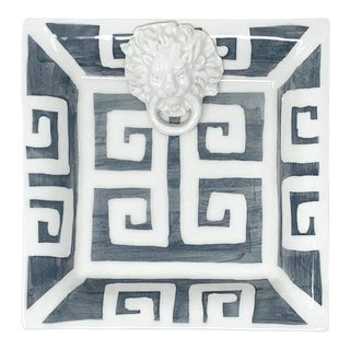 Greek Key Small Square with Lion in Graphite For Sale
