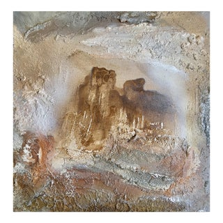 """Portal (#7 in Series)"" Original Abstract Modern Neutral Art Metallic Landscape Painting"