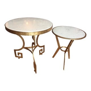 Art Deco Style Marble Top Nesting Tables - a Pair For Sale