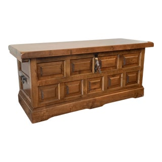 20th Spanish Trunk, Blanket Chest With Raised Wooden Panels and Iron Hardware For Sale