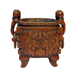 Bamboo Handcrafted Quality Vintage Chinese Oval Shape Foo Dog Handle Ding Incense Burner For Sale