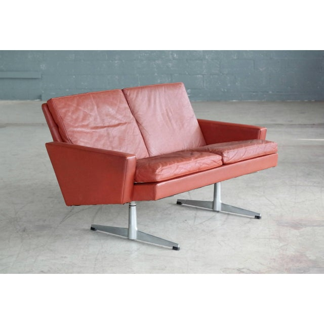 Danish 1960s Two-Seat Airport Sofa in Red Leather For Sale - Image 9 of 9