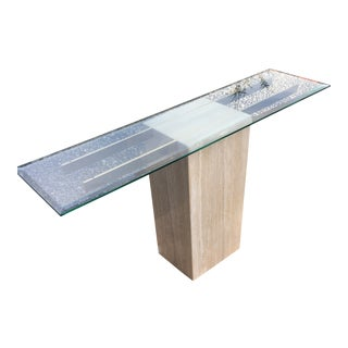 Tuscan Travertine Sofa/Entry/Console Table For Sale