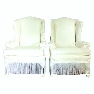 20th Century American Queen Anne Style Wing Back Chairs- A Pair Preview