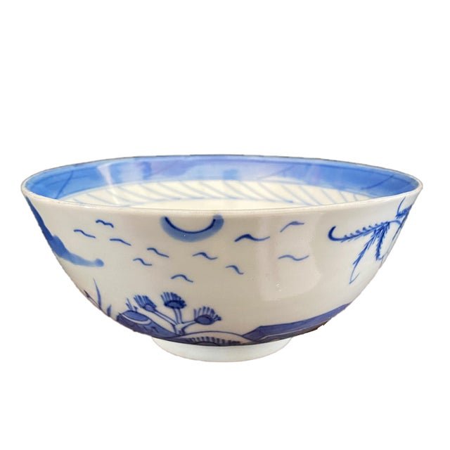 """Ceramic 19th Century Chinese Canton Blue and White Porcelain Pagoda Motif Bowl 6"""" D For Sale - Image 7 of 9"""